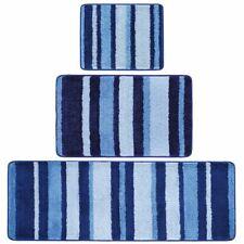mDesign Striped Microfiber Bathroom Spa Mat Rugs/Runner, Set of 3 - Blue