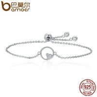 Bamoer .925 Sterling Silver Bracelet Chain Sweetheart With CZ For Women Jewelry