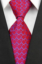GIFTS FOR MEN Classic Mens Dot Square Check Sparkly Dots Silk Necktie Tie Red