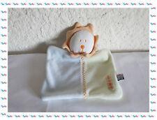 A - Doudou Plat Carré Lion Blanc Jaune Bleu Orange Sucre d'Orge