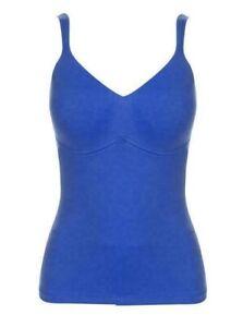 Rhonda Shear Cotton Spandex Molded Cup Camisole in Blue, XL