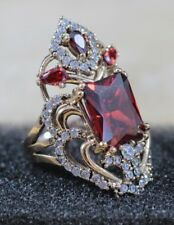 TURKISH HANDMADE STERLING SILVER 925K AND BRONZ RUBY RING SIZE 7.5