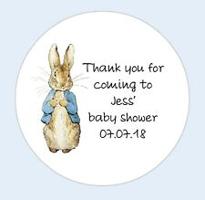 Personalised round Peter Rabbit baby shower stickers thank you Favour