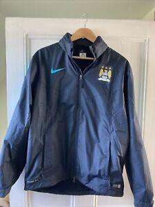Manchester City Retro Football Hooded Rain Jacket Adult Size Large