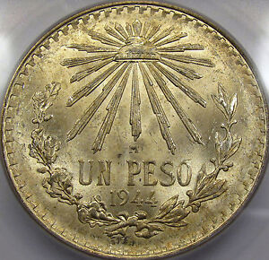 1944 Mexico One Peso Superb Gem BU ICG MS-66... Flashy with Awesome Color, NICE!