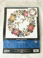"Janlynn Hummingbird Wreath Stamped Cross Stitch Kit - 15"" x 15"" NEW Sealed"