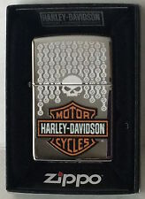 Zippo Harley Davidson Chrome Lighter With Harley Logo & Chain Design, 46832, NIB