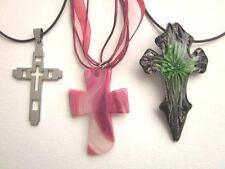 NWT 3 CHRISTIAN CROSS  Pendant Necklaces Stainless Steel Murano Glass Agate