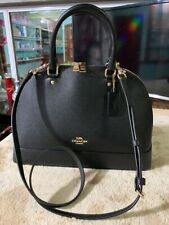 Coach F27590 IMBLK Black Crossgrain Leather Sierra Dome Convertible Satchel Bag