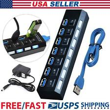 7 Port USB 3.0 Hub On/Off Switches+AC Power Adapter Cable For PC Laptop Computer