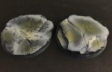 50mm (2) Slate Rock Battle Damage Scenic Resin Miniature Base Warhammer 40k