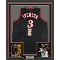 FRAMED Autographed/Signed ALLEN IVERSON 33x42 Philadelphia Black Jersey JSA COA