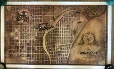 Vintage Schlitz Beer Brewing Co Milwaukee Map Poster 22 x 36.25 in