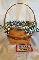 Longaberger 1994 Christmas Collection JINGLE BELL Green Basket Liner Protector