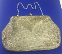 Vintage Magid Silver Sequin Evening Bag Clutch Purse Japan With Silver Chain