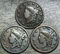 1822 1837 1838 Coronet Head Large Cent Penny Lot ----  #G691