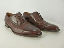 MEN'S MAGNANNI MADE SPAIN LUXURY BROWN LEATHER OXFORD DRESS SHOES 11 D CAP TOE