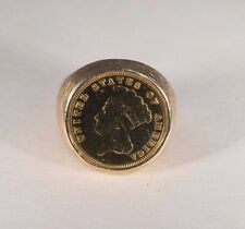 14K Yellow Gold Men's Coin Ring with 1882 3 Dollar Gold piece, Size 10
