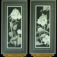 Two Original Watercolor Paintings of roses by Karen Mallary (1984) w/USPS stamps