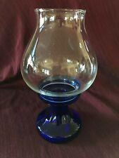 Blue Cobalt Glass Hurricane Candle Holder