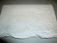 Vintage Linen Cutwork Embroidered White Floral Spring Easter Tablecloth 66x48