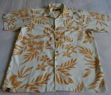 Med. O'Neill American DNA Surf Shirt,Creme w/Gold Tropical Flower Print