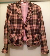 Ladies Casting Brand Plaid Ladies Blazer Size Small Beaded Buttons