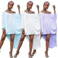NEW Stylish Women/'f Off Shoulder V Neck Solid Long Tail Asymmetric Party Tops