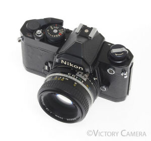 Nikon FM Black Camera (Early Version) w/ 50mm F1.8 Lens -New Seals-