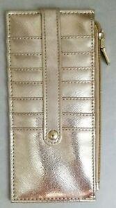 """Gold Metallic Ladies Long Credit Card Wallet Slim Travel 8x3.5"""""""