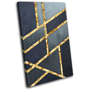 Gold Navy Texture Grunge Abstract SINGLE CANVAS WALL ART Picture Print
