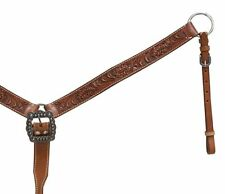 WESTERN SADDLE HORSE HAND TOOLED LEATHER BREAST PLATE COLLAR ROPING REINING
