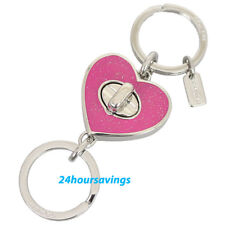 New COACH PINK GLITTER ENAMEL Love Heart Turn Lock Valet Key Chain Ring F58512