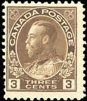 Mint NH 1918 Canada F 3c Scott #108 King George V Admiral Stamp