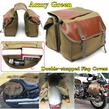 Double-strapped Flap Covers Saddle Bag Motorcycle Rear Tail Storage Bag Canvas