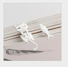 Asymmetric Sterling Silver Love Cat Fish Stud Earrings Women Girl Gift Box K12A