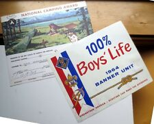 (2) vintage Boy Scout Certificates: 1963 National Camping Award; 1964 Boys Life