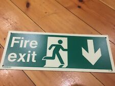 directional fire exit signs photoluminescent glow in the dark 40cm x 15cm Army