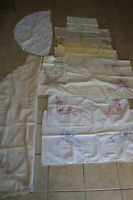 Vintage Tablecloth Lot of 8 Embroidery Cross-stitch Floral Lace One Pillowcase