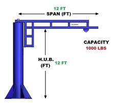Gorbel Work Station Jib Crane 12 Ton Capacity Span 12 Ft Hub 12 Ft