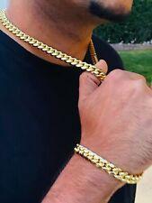 "Mens 14k Gold Filled Thick Miami Cuban Link Choker necklace 20"" bracelet 10mm"