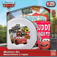 Cars Backwards Drivers Mealtime Dinnerware Set Includes Plate Bowl and Cup-New
