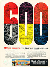 1957 Bank of America 600 Branches - Vintage Advertisement Print Ad J468