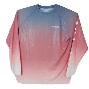 Columbia PFG Mens Size Large Pink Blue Long Sleeve Omni-Shade Crewneck Shirt