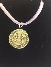 "Denarius Vespa Roman Coin WC27 Made From Fine Pewter On 18"" Purple Cord Necklace"