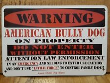 """Metal Warning American Bully Dog sign For Fence ,Beware Of Dog 8""""x12"""""""
