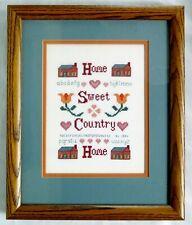 """Home Sweet Country Home"" Oak Framed Cross Stitch Sampler - NICE"