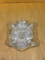 "Vintage Clear Pressed Glass w/Gold Trim Candy/Nut /Relish/Dish 6"" x 5"" *"