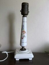 1940's white table lamp with flower decal