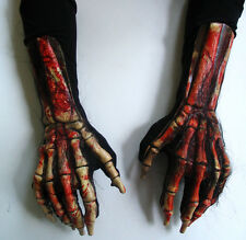Bloody Skeleton Death Beast Claws Hands Scary Adult Halloween Costume Gloves